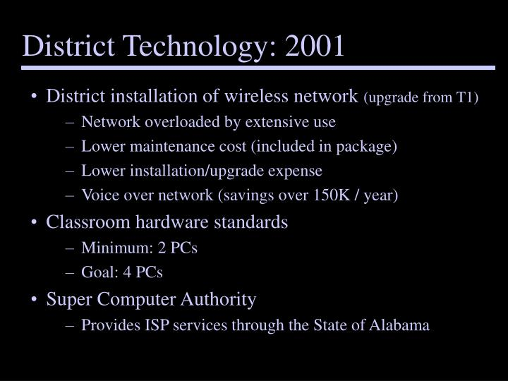 District Technology: 2001