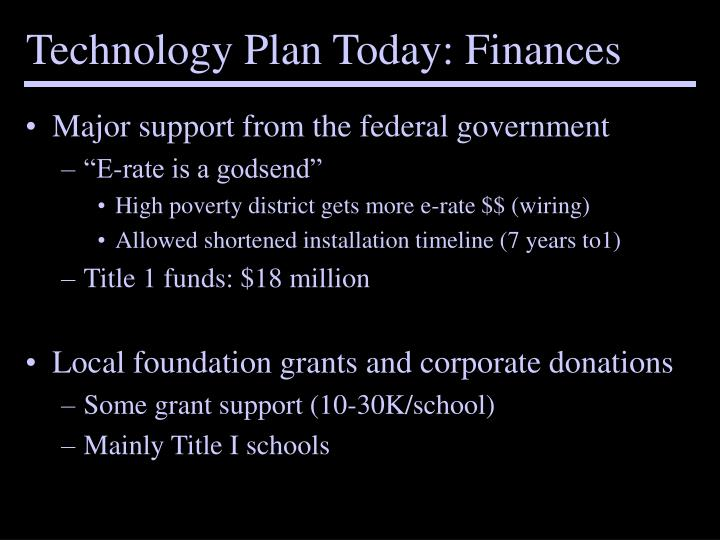 Technology Plan Today: Finances