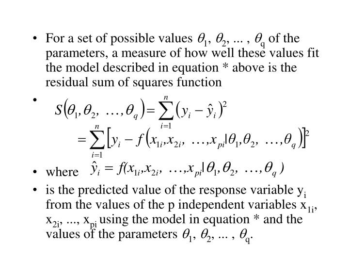 For a set of possible values