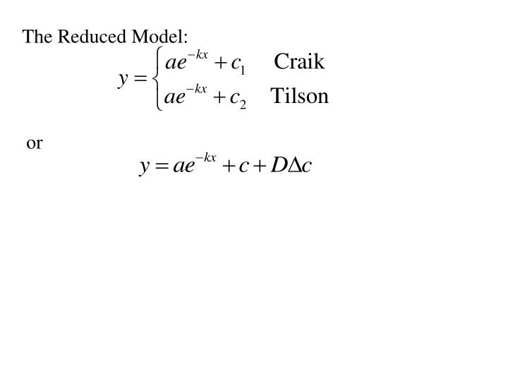 The Reduced Model: