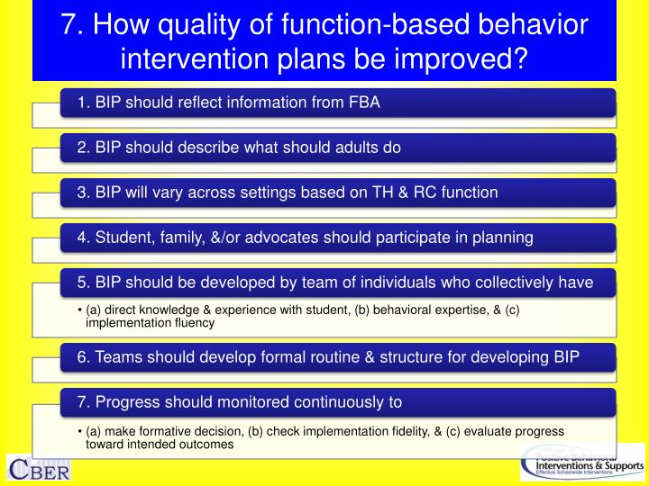 7. How quality of function-based behavior intervention plans be improved?