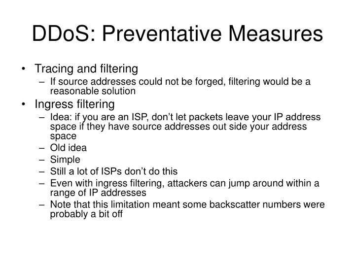 DDoS: Preventative Measures