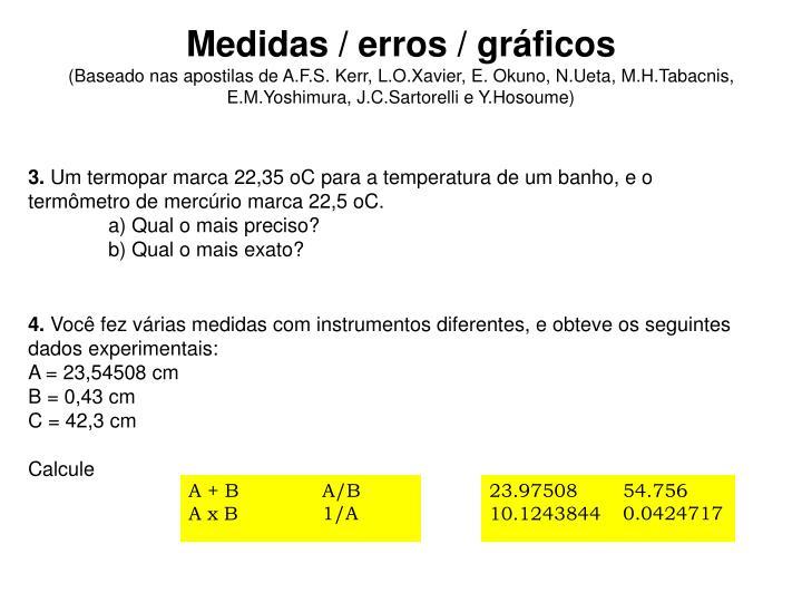 Medidas / erros / gráficos