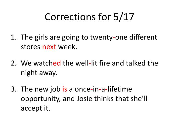 Corrections for 5/17