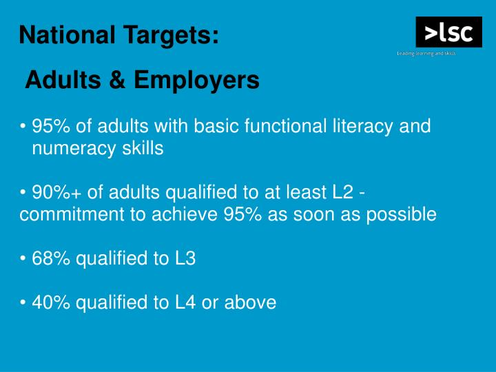 95% of adults with basic functional literacy and numeracy skills