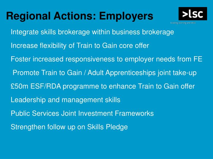 Regional Actions: Employers