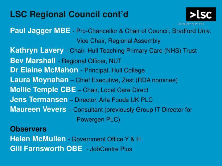 LSC Regional Council cont'd