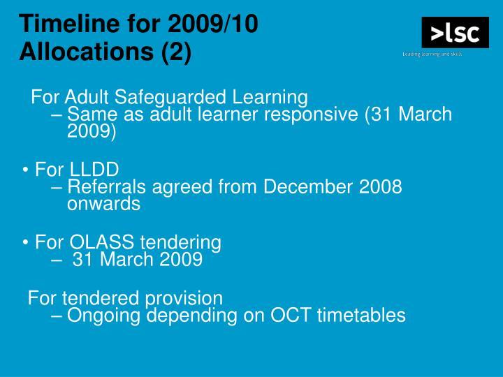 Timeline for 2009/10