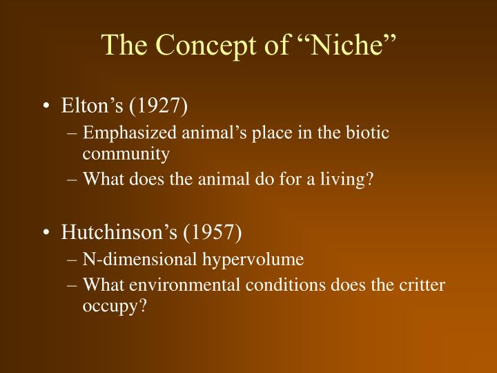 The concept of niche