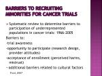 barriers to recruiting minorities for cancer trials