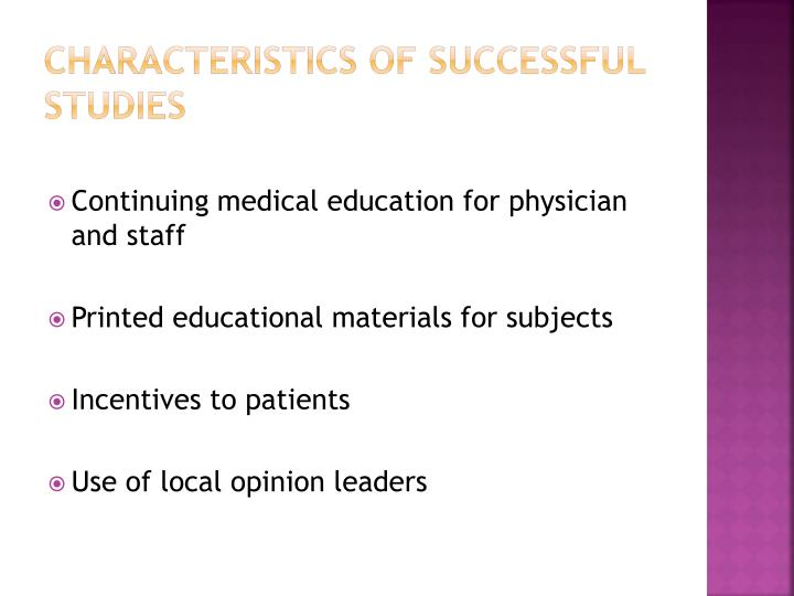Characteristics of successful studies