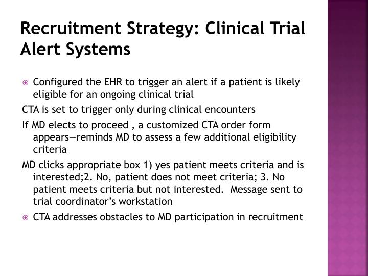 Recruitment Strategy: Clinical Trial Alert Systems