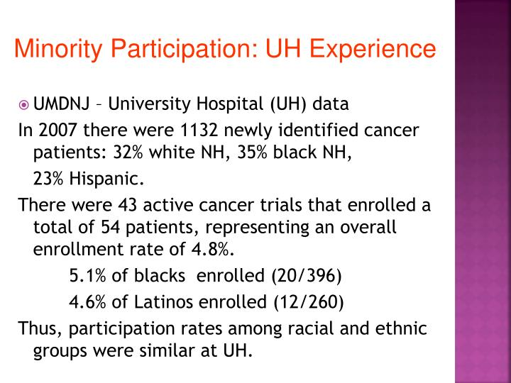 Minority Participation: UH Experience