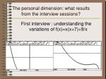 the personal dimension what results from the interview sessions