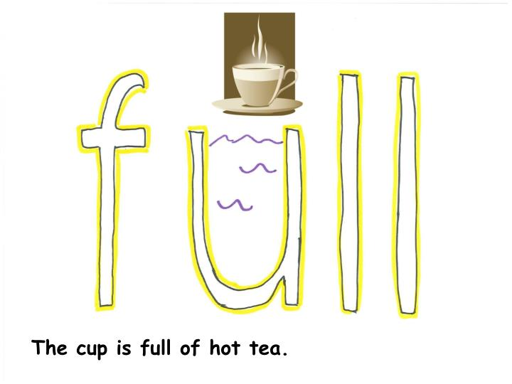 The cup is full of hot tea.