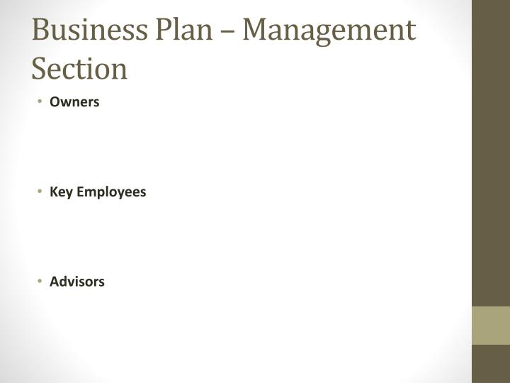 Business plan management section
