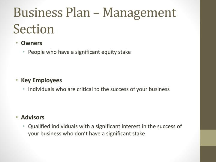 Business Plan – Management Section
