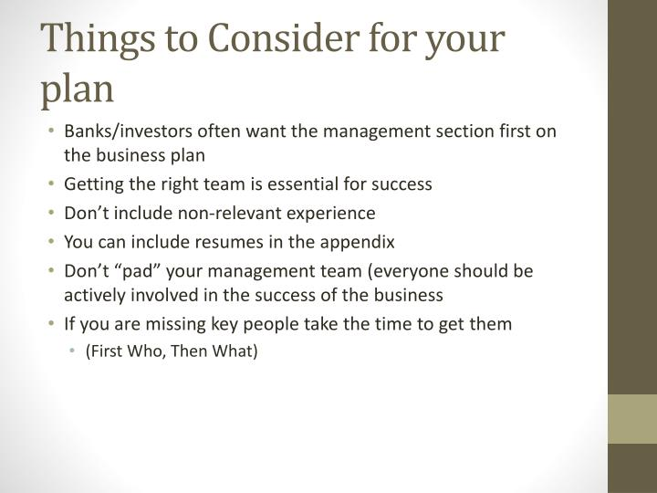 Things to Consider for your plan
