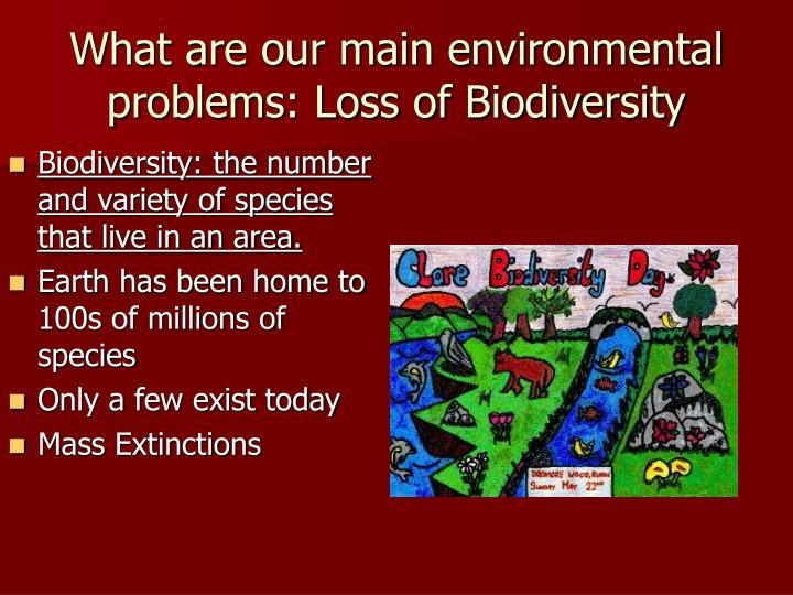 the earths environment and the issues for the biodiversity Almost all the environmental problems we face today can be traced back to the   growth rate of 18%, three more people are added to the earth every second.