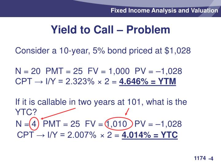 Yield to Call – Problem