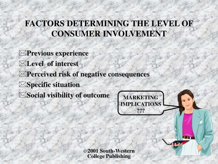 FACTORS DETERMINING THE LEVEL OF CONSUMER INVOLVEMENT