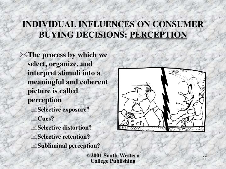 INDIVIDUAL INFLUENCES ON CONSUMER BUYING DECISIONS: