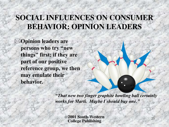 SOCIAL INFLUENCES ON CONSUMER BEHAVIOR: OPINION LEADERS