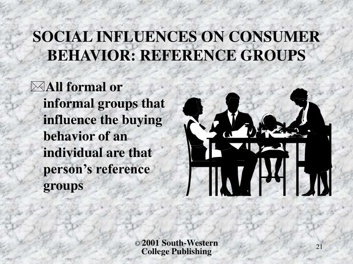 All formal or informal groups that influence the buying behavior of an individual are that person's reference groups