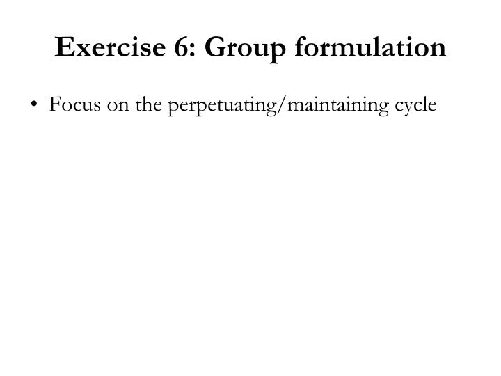 Exercise 6: Group formulation