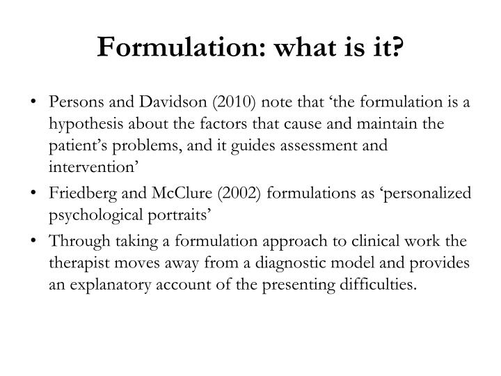 Formulation: what is it?