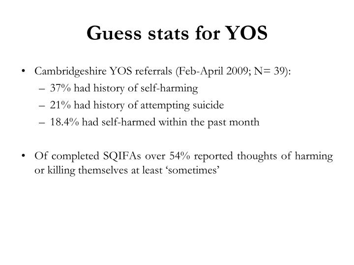 Guess stats for YOS