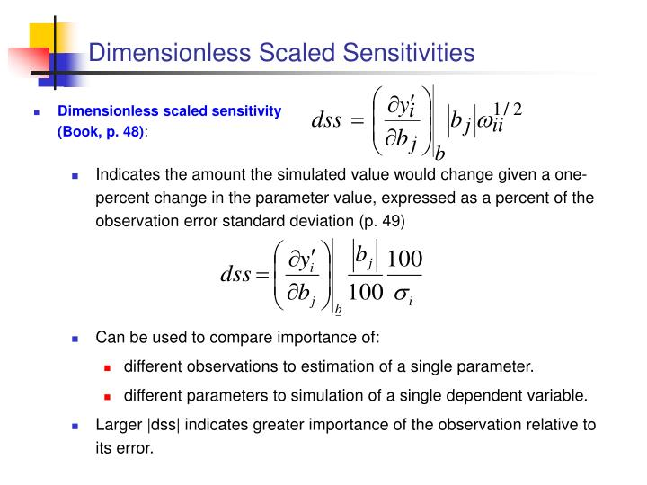 Dimensionless Scaled Sensitivities