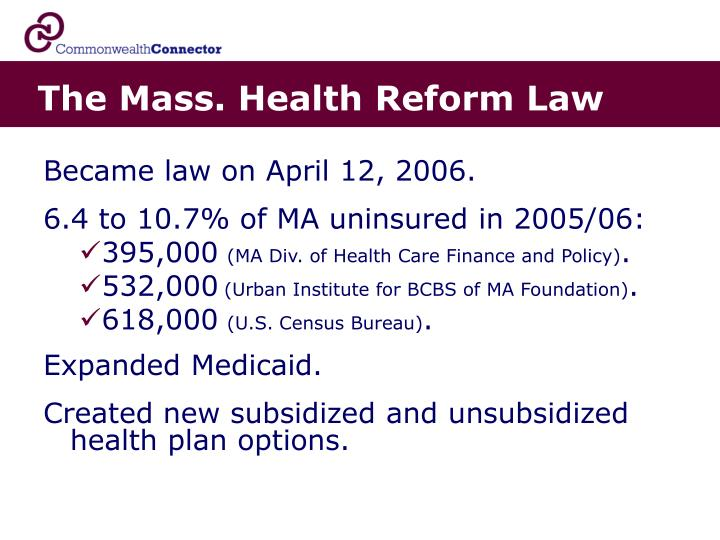 The mass health reform law