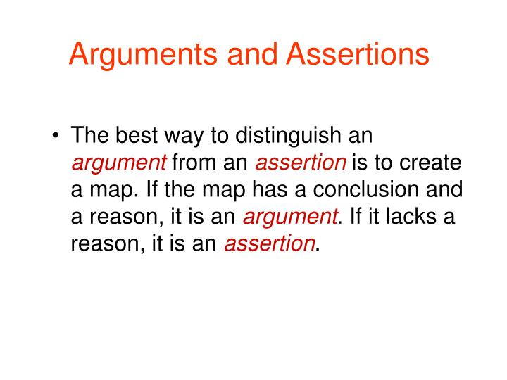 Arguments and assertions1