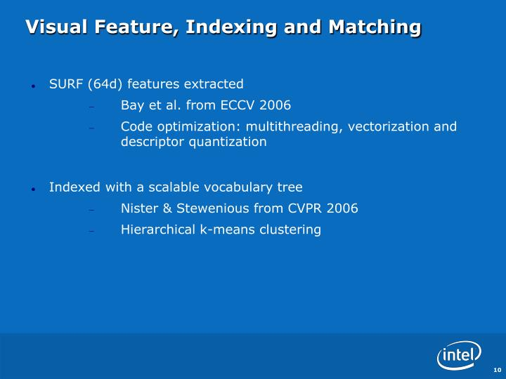Visual Feature, Indexing and Matching