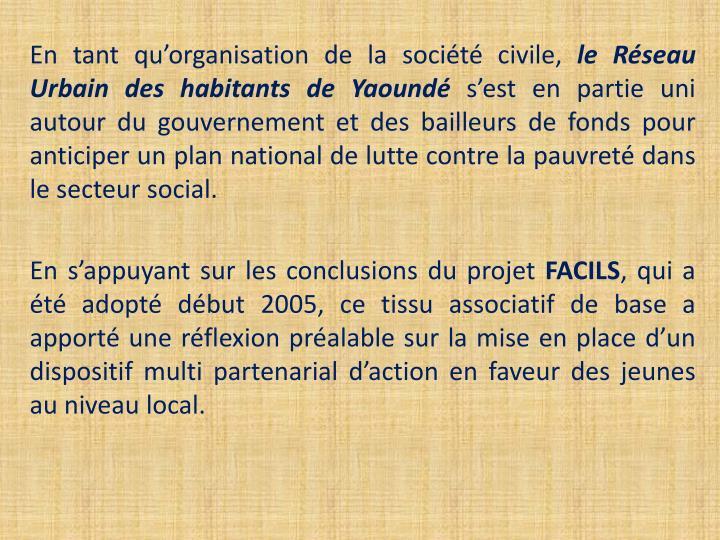 En tant qu'organisation de la société civile,