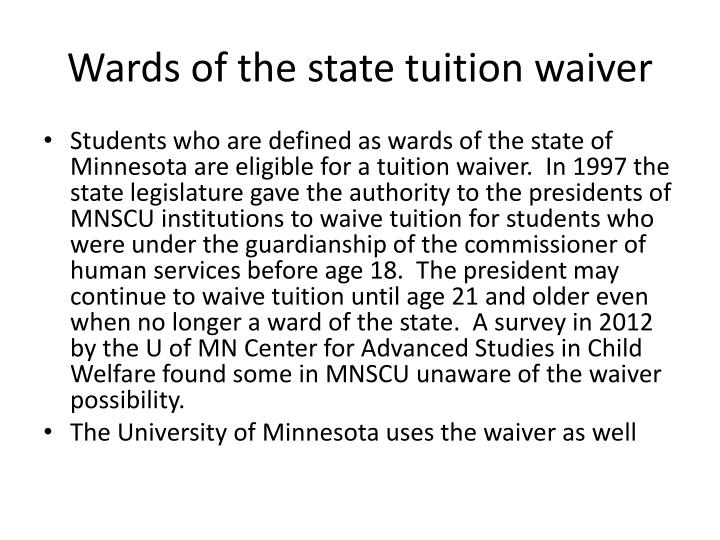 Wards of the state tuition waiver