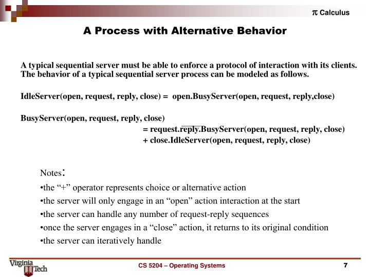 A Process with Alternative Behavior