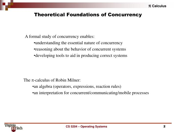 Theoretical foundations of concurrency