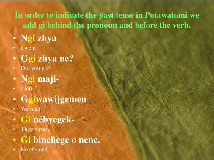 In order to indicate the past tense in Potawatomi we add gi behind the pronoun and before the verb.