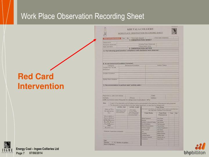 Work Place Observation Recording Sheet