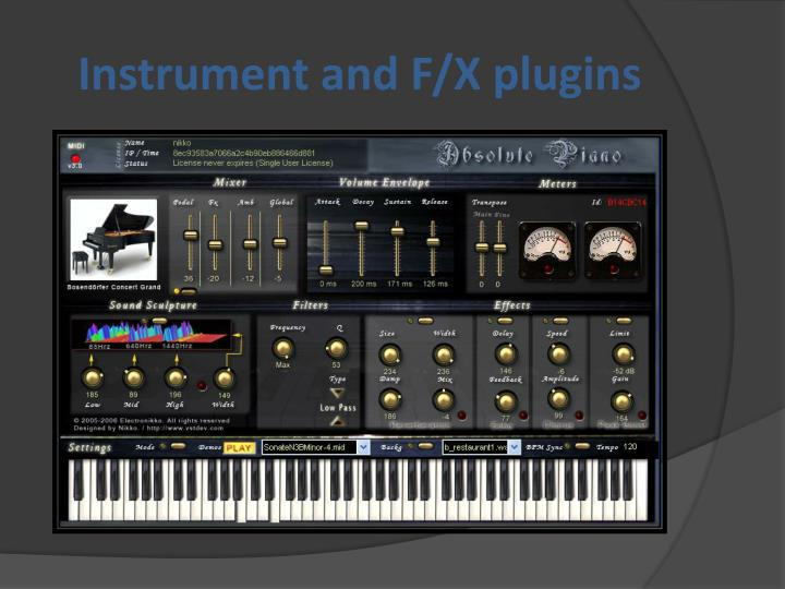 Instrument and F/X plugins