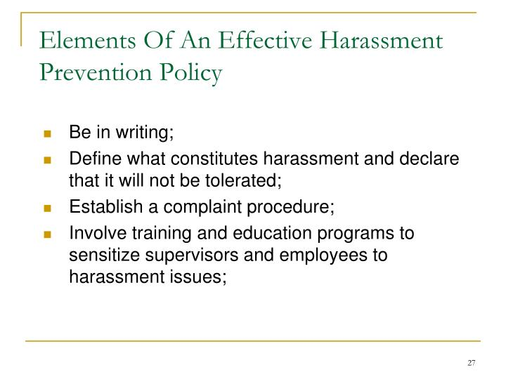 Elements Of An Effective Harassment Prevention Policy
