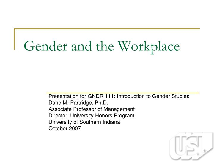 gender and the workplace