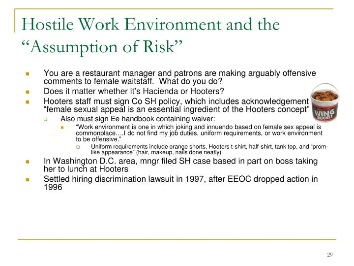 """Hostile Work Environment and the """"Assumption of Risk"""""""