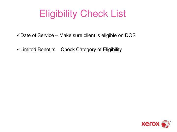 Eligibility Check List