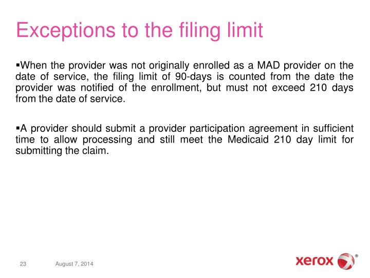 Exceptions to the filing limit
