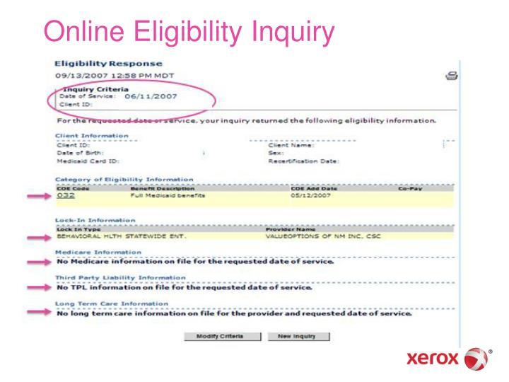 Online Eligibility Inquiry