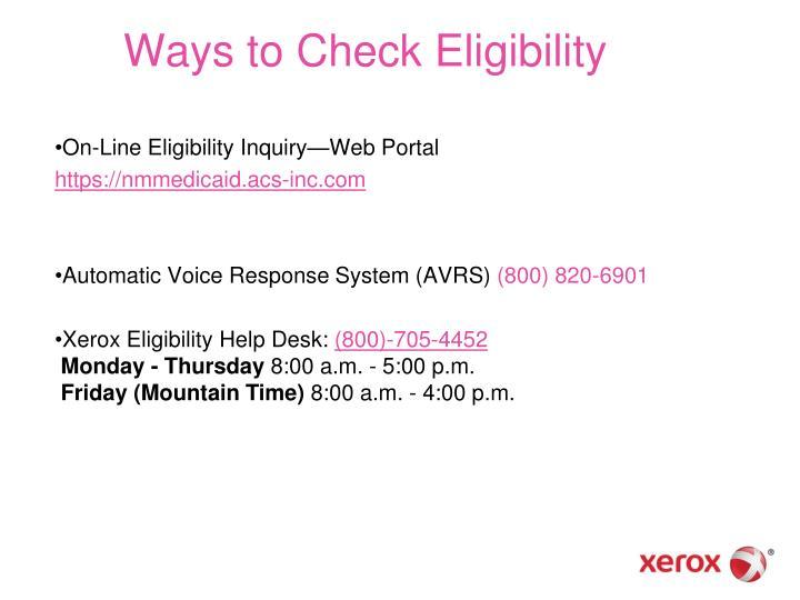 Ways to Check Eligibility