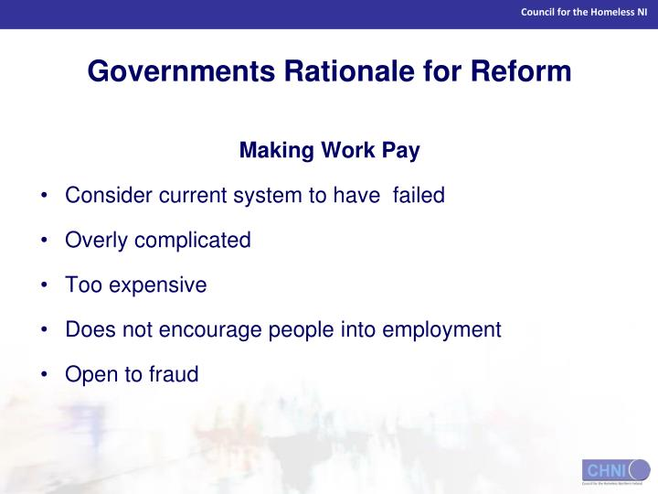 Governments Rationale for Reform